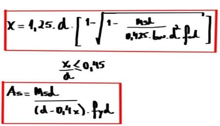 Equações para Dimensionamento de Viga de Concreto Armado